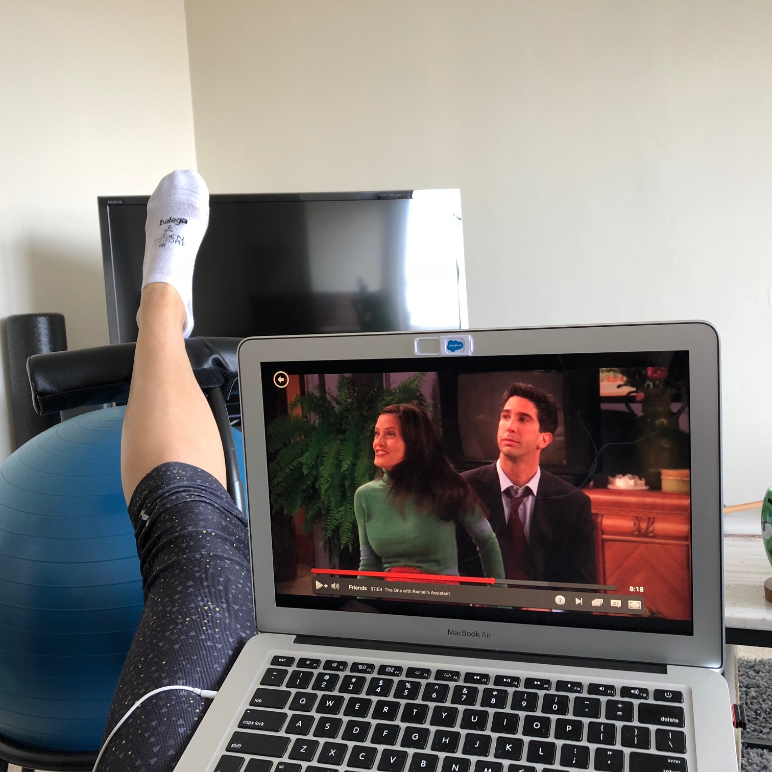 elevating my left leg while watching Friends